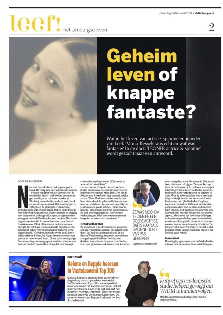Limburger artikel Leonie actrice en spionne