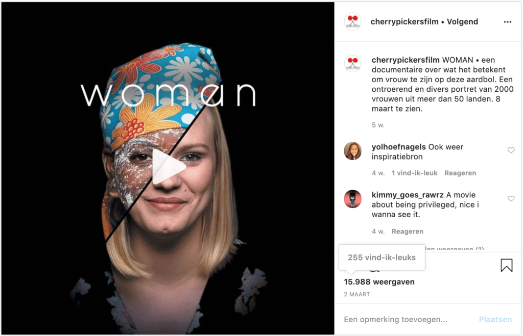 Voorbeeld sociale media Woman filmmarketing